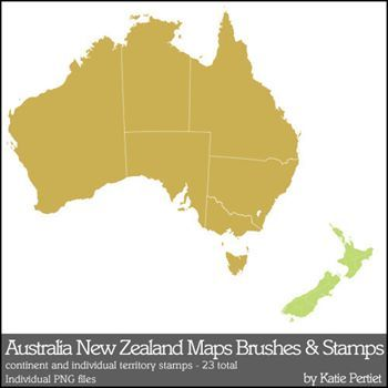 Map Of Australia Nz.Australia And New Zealand Maps Brushes And Stamps Digital Art