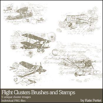 Flight Clusters Brushes And Stamps Digital Art - Digital Scrapbooking Kits