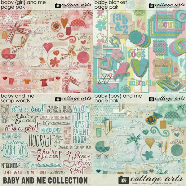 Baby And Me Collection Digital Art - Digital Scrapbooking Kits