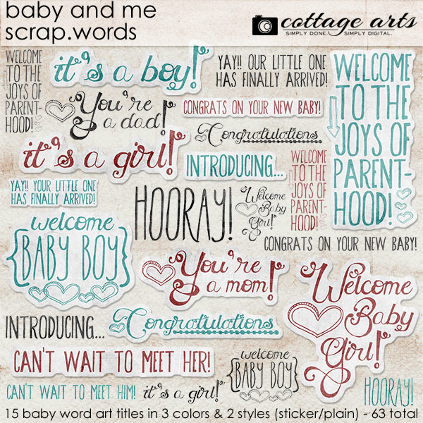 Baby And Me Scrap.words Digital Art - Digital Scrapbooking Kits