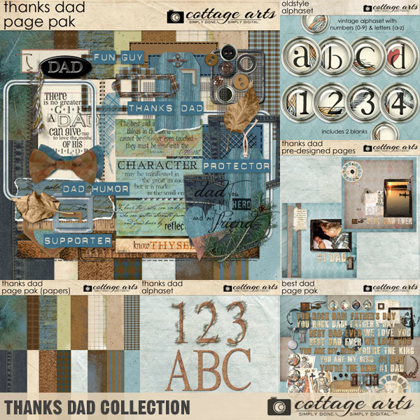 Thanks Dad Collection Digital Art - Digital Scrapbooking Kits