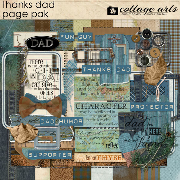 Thanks Dad Page Pak Digital Art - Digital Scrapbooking Kits
