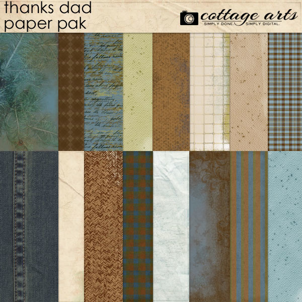 Thanks Dad Paper Pak Digital Art - Digital Scrapbooking Kits
