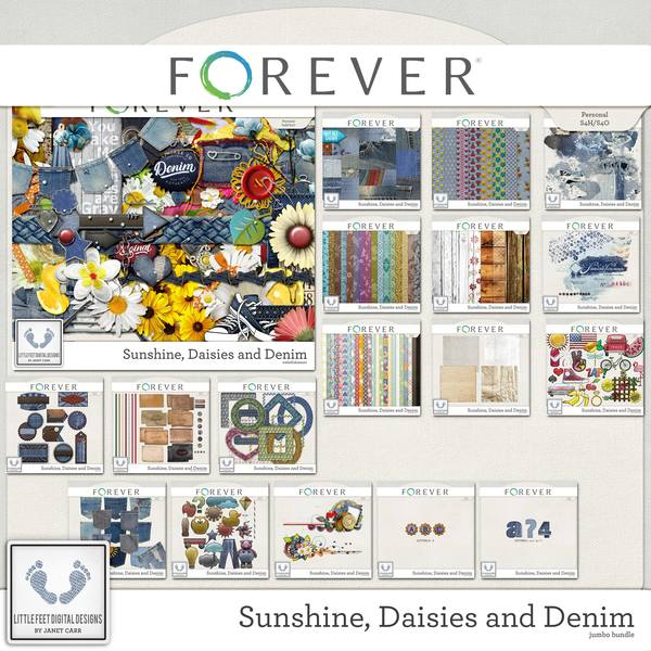 Sunshine, Daisies And Denim Jumbo Bundle Digital Art - Digital Scrapbooking Kits