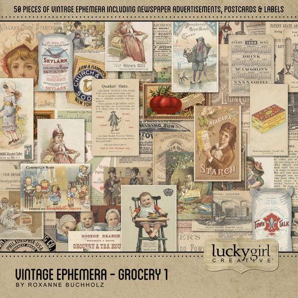 Vintage Ephemera - Grocery 1 Digital Art - Digital Scrapbooking Kits