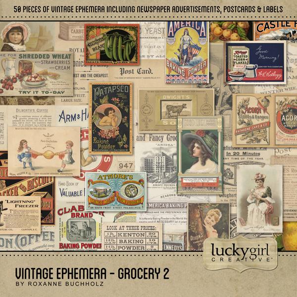 Vintage Ephemera - Grocery 2 Digital Art - Digital Scrapbooking Kits