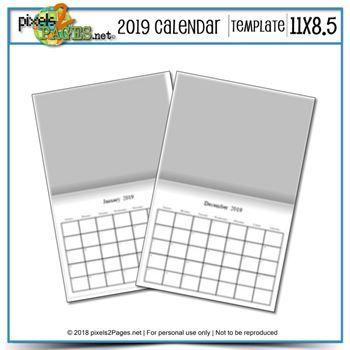 2019 11x8.5 Blank Calendar Template Digital Art - Digital Scrapbooking Kits