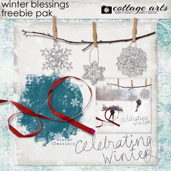 Winter Blessings Freebie Pak Digital Art - Digital Scrapbooking Kits