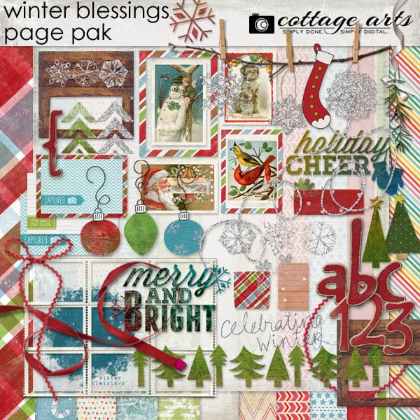 Winter Blessings Page Pak Digital Art - Digital Scrapbooking Kits