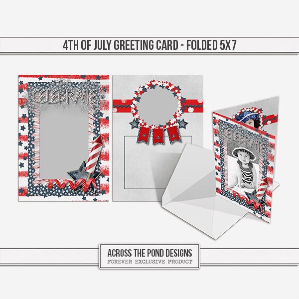 4th Of July Greeting Card Digital Art - Digital Scrapbooking Kits