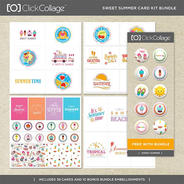 Sweet Summer Card Kit Bundle Digital Art - Digital Scrapbooking Kits