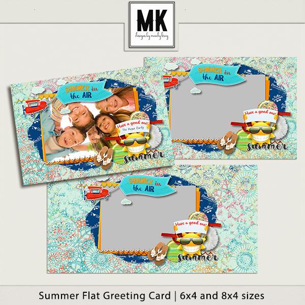 Summer Flat Greeting Card Digital Art - Digital Scrapbooking Kits
