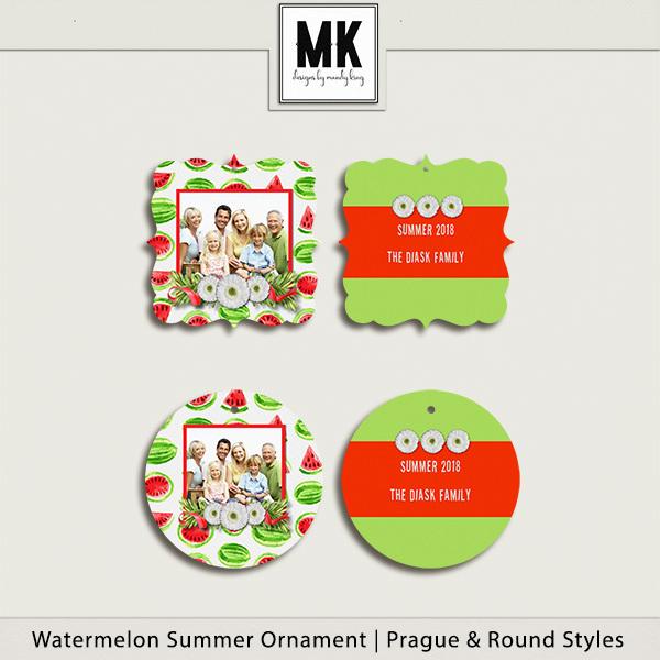 Watermelon Summer Ornaments Digital Art - Digital Scrapbooking Kits