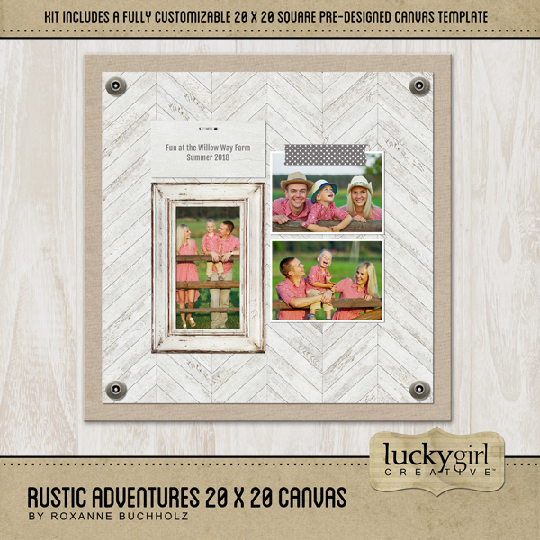 Rustic Adventures 20x20 Canvas Digital Art - Digital Scrapbooking Kits
