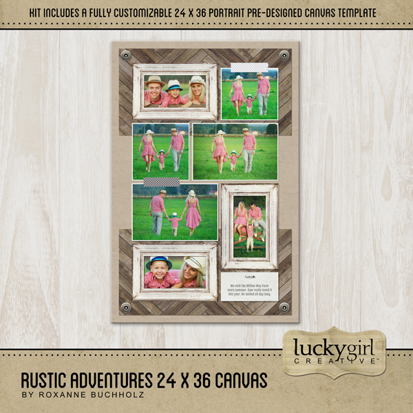 Rustic Adventures 24x36 Canvas Digital Art - Digital Scrapbooking Kits