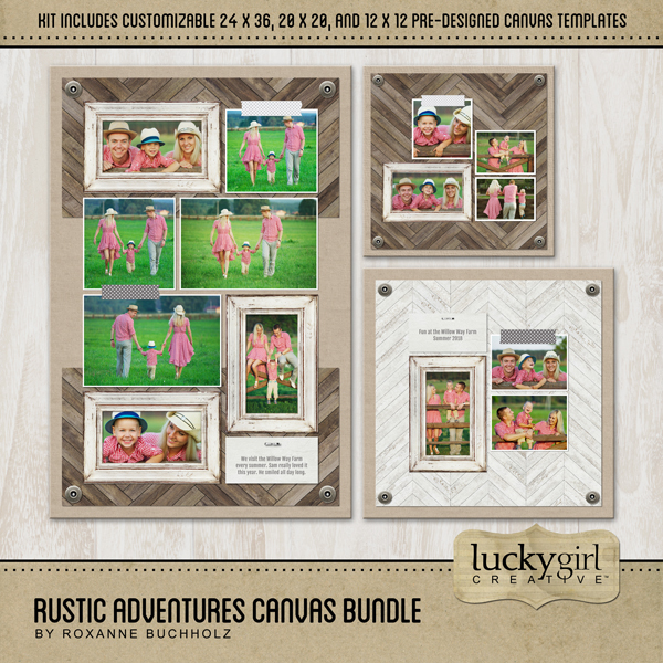 Rustic Adventures Canvas Bundle Digital Art - Digital Scrapbooking Kits
