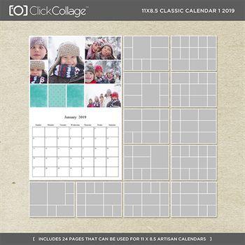11x8.5 Classic Calendar 1 2019 Digital Art - Digital Scrapbooking Kits