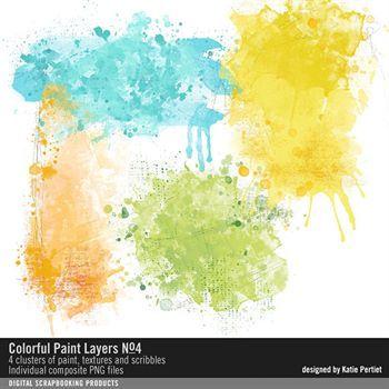 Colorful Paint Layers No. 04 Digital Art - Digital Scrapbooking Kits