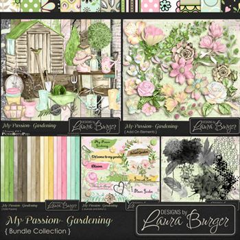 My Passion Gardening Bundle Fwp 2 Clusters Digital Art - Digital Scrapbooking Kits