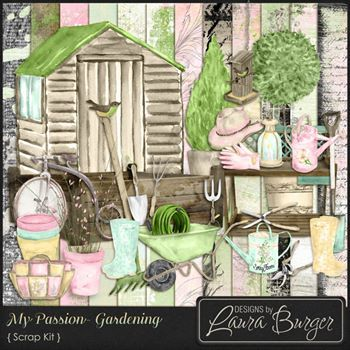 My Passion Gardening Scrap Kit Digital Art - Digital Scrapbooking Kits