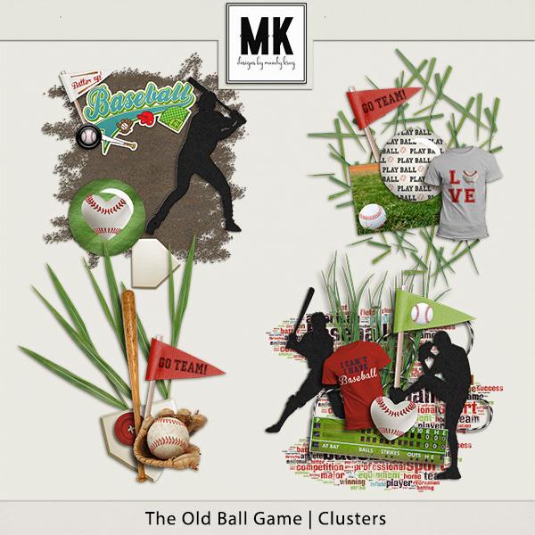 The Old Ball Game - Clusters Digital Art - Digital Scrapbooking Kits