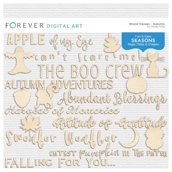 Wood Veneer Titles & Shapes - Autumn Digital Art - Digital Scrapbooking Kits