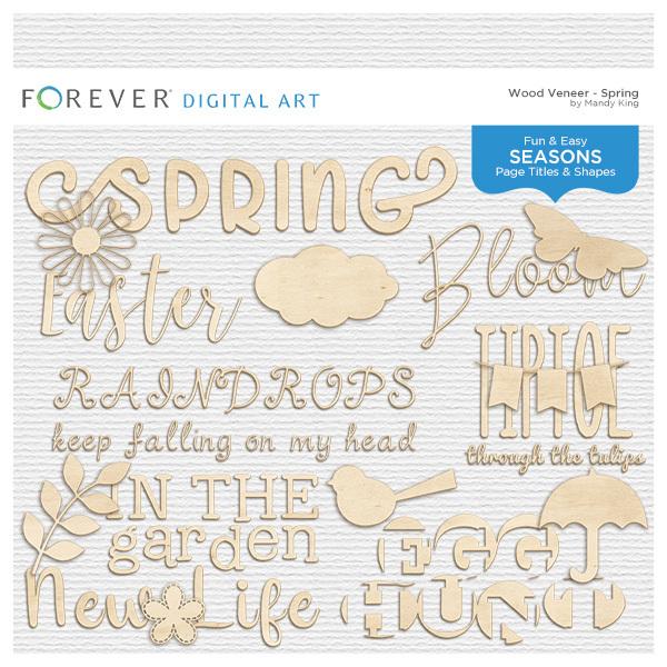 Wood Veneer Titles & Shapes - Spring Digital Art - Digital Scrapbooking Kits