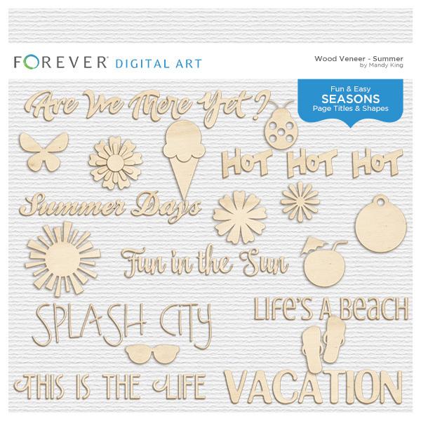 Wood Veneer Titles & Shapes - Summer Digital Art - Digital Scrapbooking Kits