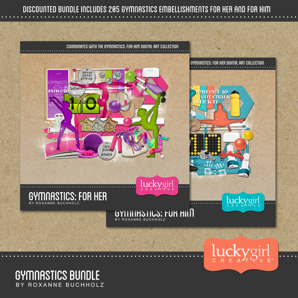 Gymnastics Bundle Digital Art - Digital Scrapbooking Kits