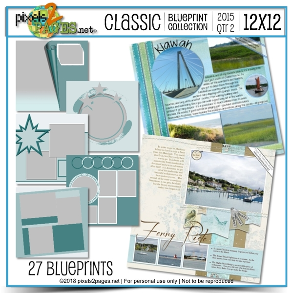 Classic Blueprint Collection 2015 - Quarter 2 (12x12) Digital Art - Digital Scrapbooking Kits