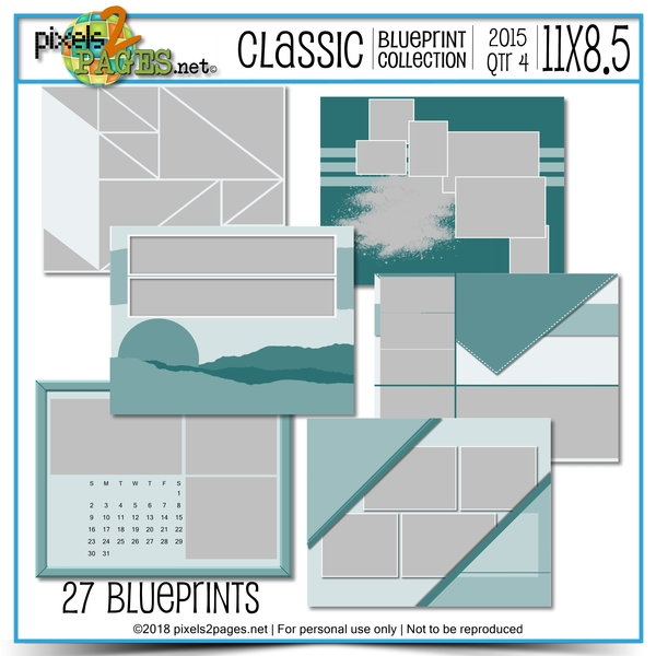 Classic Blueprint Collection 2015 - Quarter 4 (11x8.5) Digital Art - Digital Scrapbooking Kits