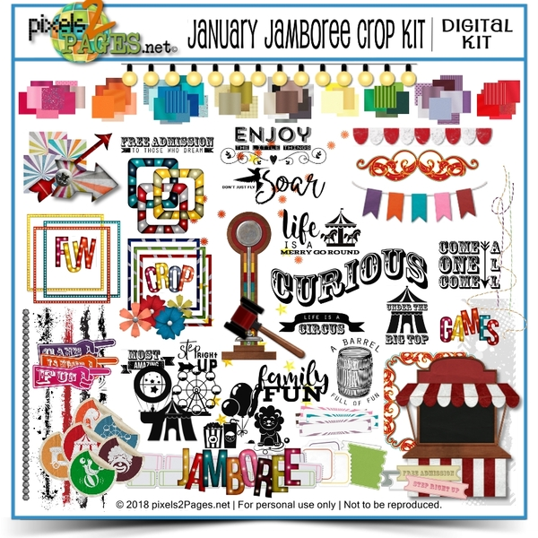 January Jamboree Crop Kit Digital Art - Digital Scrapbooking Kits