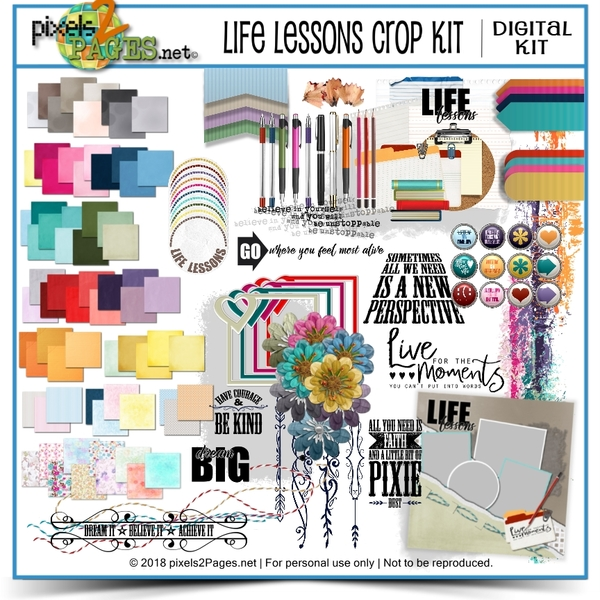 Life Lessons Crop Kit Digital Art - Digital Scrapbooking Kits