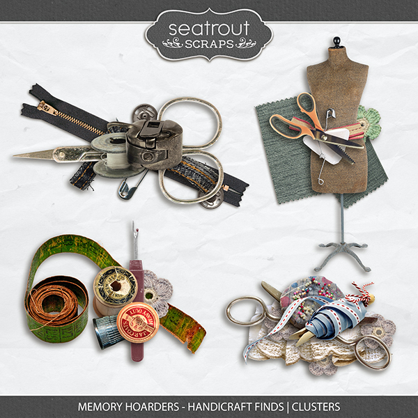 Memory Hoarders - Handicraft Finds Clusters Digital Art - Digital Scrapbooking Kits