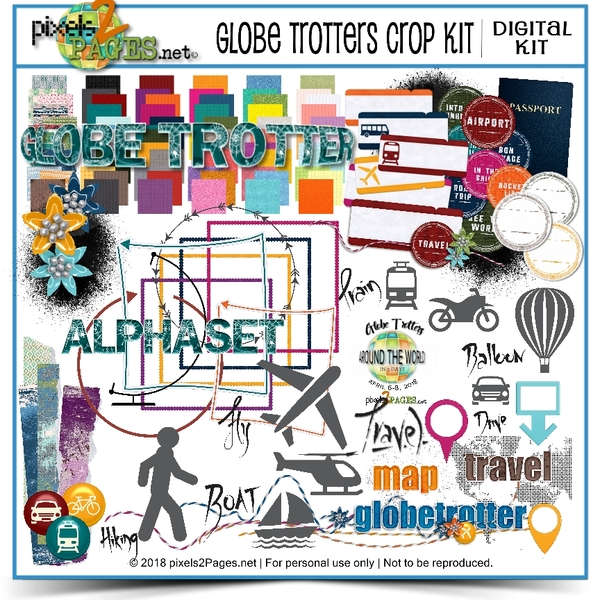 Globe Trotters Crop Kit Digital Art - Digital Scrapbooking Kits