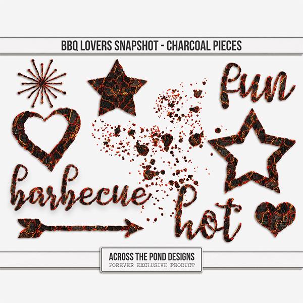 BBQ Lovers Snapshot - Charcoal Pieces Digital Art - Digital Scrapbooking Kits