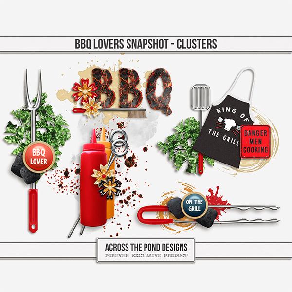 BBQ Lovers Snapshot - Clusters Digital Art - Digital Scrapbooking Kits