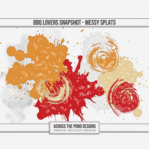 BBQ Lovers Snapshot - Messy Splats Digital Art - Digital Scrapbooking Kits