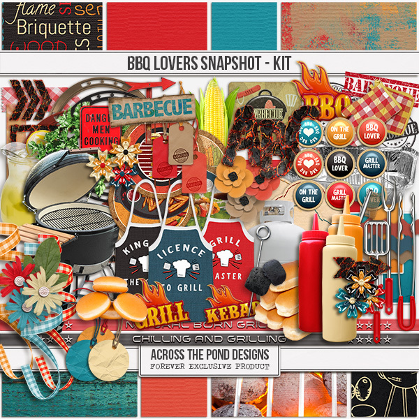BBQ Lovers Snapshot - Page Kit Digital Art - Digital Scrapbooking Kits