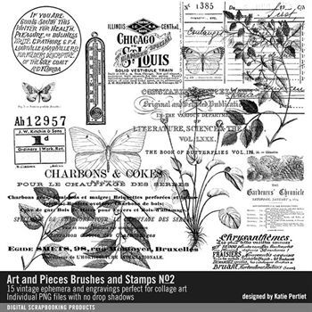 Art And Pieces Brushes And Stamps No. 02 Digital Art - Digital Scrapbooking Kits
