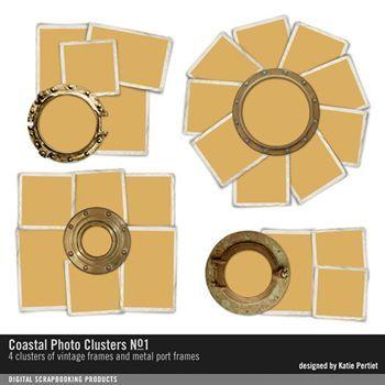 Coastal Photo Clusters No. 01 Digital Art - Digital Scrapbooking Kits