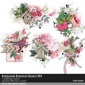 Readymade Botanical Clusters No. 04 Digital Art - Digital Scrapbooking Kits