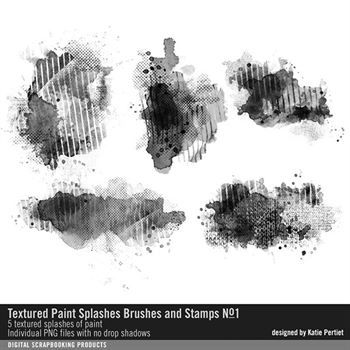 Textured Paint Splashes Brushes And Stamps No. 01 Digital Art - Digital Scrapbooking Kits