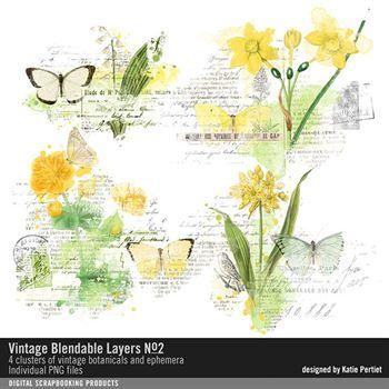 Vintage Blendable Layers No. 02 Digital Art - Digital Scrapbooking Kits