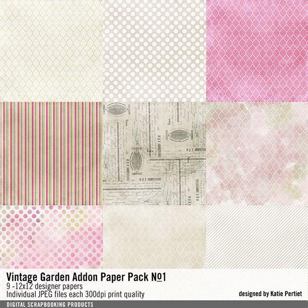 Vintage Garden Add-on Paper Pack No. 01 Digital Art - Digital Scrapbooking Kits