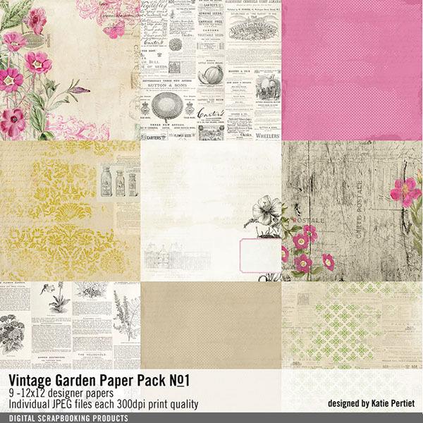 Vintage Garden Paper Pack No. 01 Digital Art - Digital Scrapbooking Kits