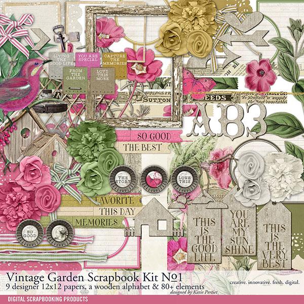 Vintage Garden Scrapbook Kit No. 01