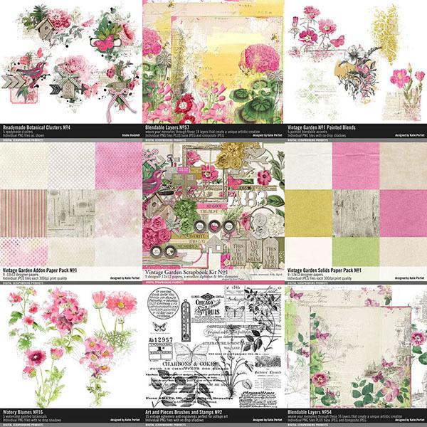Vintage Garden Scrapbooking Bundle Digital Art - Digital Scrapbooking Kits