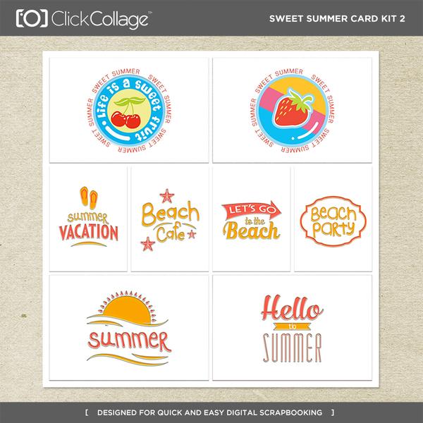 Sweet Summer Card Kit 2 Digital Art - Digital Scrapbooking Kits