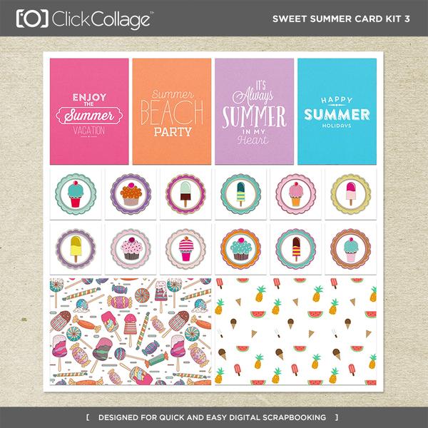 Sweet Summer Card Kit 3 Digital Art - Digital Scrapbooking Kits